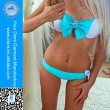 Domi wholesale girls bandeau bikini set with bow-tie top and low rise bottom