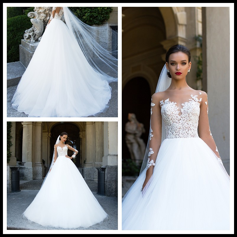 Ball Gown Bateau Chapel Train Sequined Crystal Long Sleeve Wedding Dress