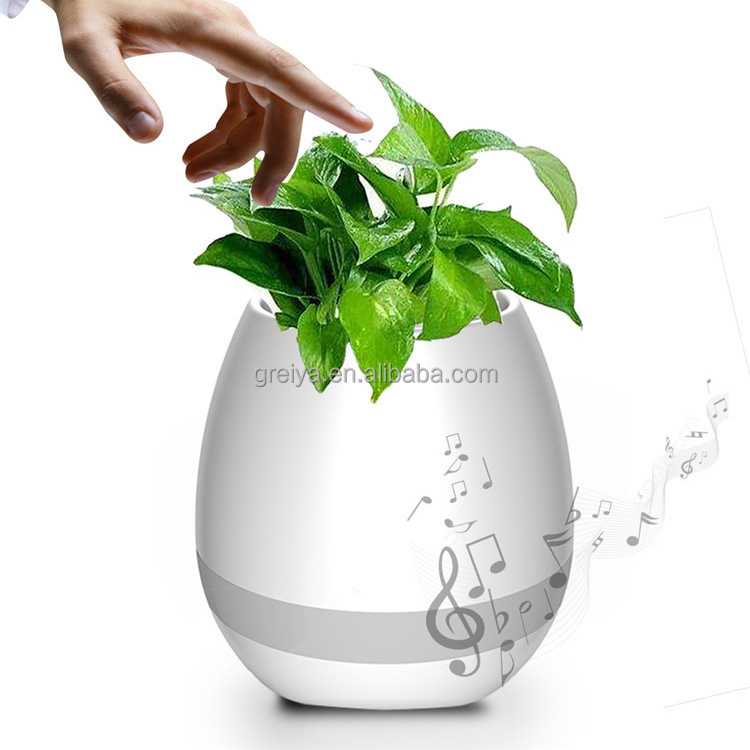 Greia OEM Touching Flower Singing Plant Interaction Bluetooth Speaker LED Smart Music Flowerpot