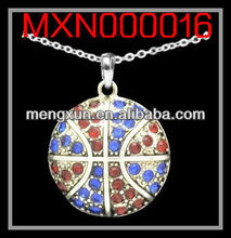 2013 yiwu fashion jewelry alloy silver crystal CABLE NECKLACE - BASKETBALL - BLUE & RED