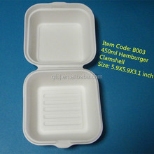 disposable biodegradable bagasse hamburger box