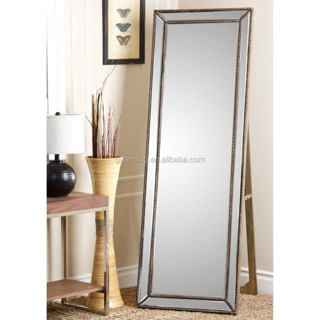 Gold Rectangle Cheval Modern Dressing Mirror In Classic Cheval Style