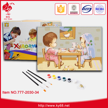 Funny games DIY art oil painting on canvas hand painted oil painting toys for kids