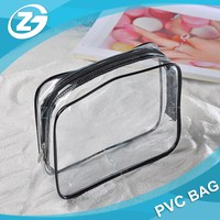3 Different Size Cosmetic Makeup Travel Wash Bag Holder Organizer Pouch Clear Vinyl PVC Toiletry Bag Set with Zipper, Handle