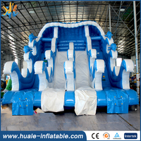 New Design best popular inflatable wave slide for pool,Blue inflatable water slide with low price