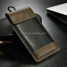 Slim pouch for universal leather case pouch for htc desire with hanging ring