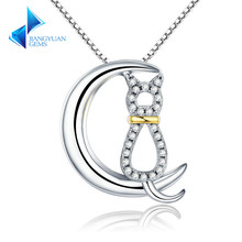 Authentic 925 Sterling Silver Moon Cat Women Necklaces Clear CZ Jewelry