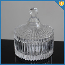 Glass Material and Storage Bottles & Jars Type cheap ribbed glass candle jar