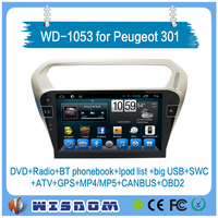 WD-1053 for Peugeot 301 car dvd player with reversing camera GPS navigation Touchscreen Android Quad core Bluetooth for Peugeot