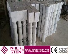 White marble stone porch handrail railing for outdoor steps