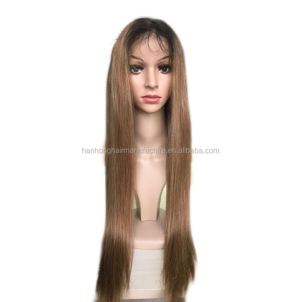 Full lace ash blonde brazilian remy hair 8a quality human hair ombre wig