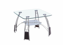 Small Coffee Table,Clear and Frost, with Chromed Legs