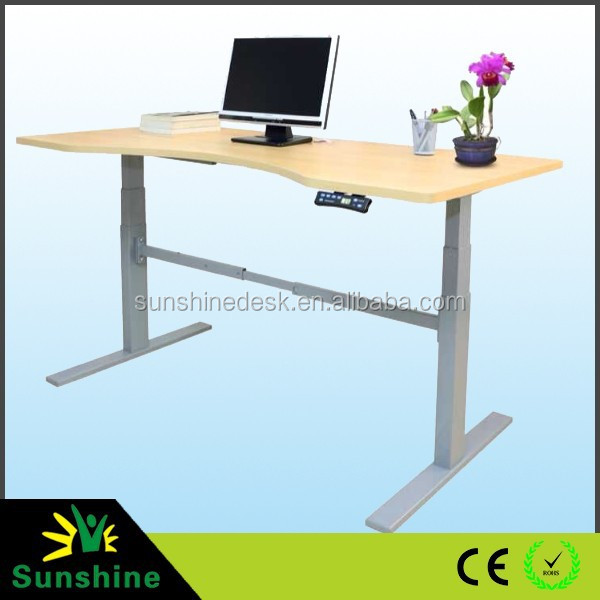 Professional Ergonomic Electric standing up office table with bamboo desktop