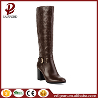 Golden appearance and strap buckle decoeation high quality PU women sex embroidered rubber long boots