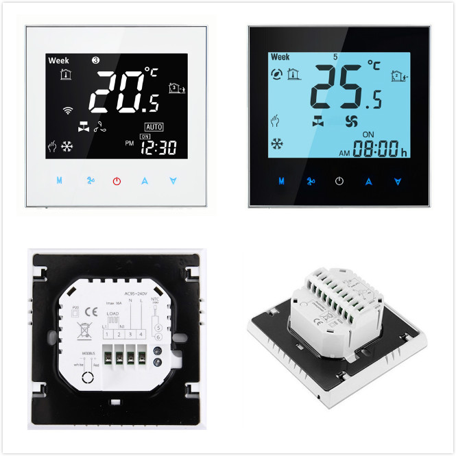 7 days programming fan coil unit ac thermostat