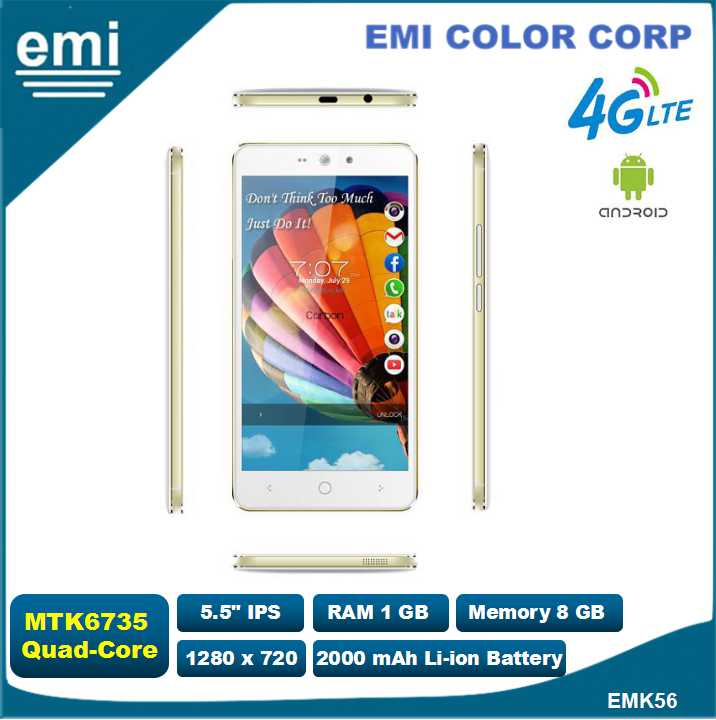 5.5 inch IPS mobile phone with Quad-Core@1.5GHz, 5M camera, BT, WIFI, LTE, 4G, GPS, FM
