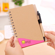 Promotion gift eco-friendly a4 recycle brown kraft paper spiral blank notebook and pen