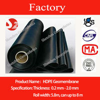 0.75mm fish pond used waterproofing black geomembrane liner sheet