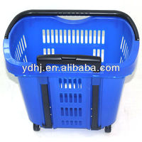 Supermarket Plastic Shopping Handle Rolling Baskets With Wheels