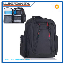 Multifunctional Black 1680D Polyester Adult Diaper Bag