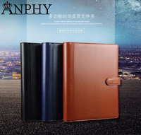 KK29 ANPHY A4 Meeting Folder PU Leather Manager Notebook Free Custom Logo Custom Conference Folder