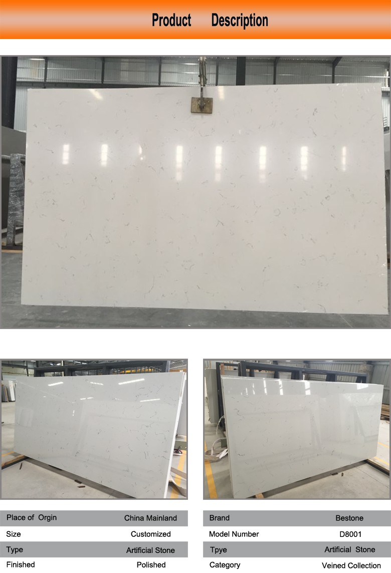Marble Looking White Veined Quartz Stone Plate
