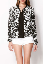 B30454A European and American fashion spring and autumn leisure fashion cow print bomber jacket