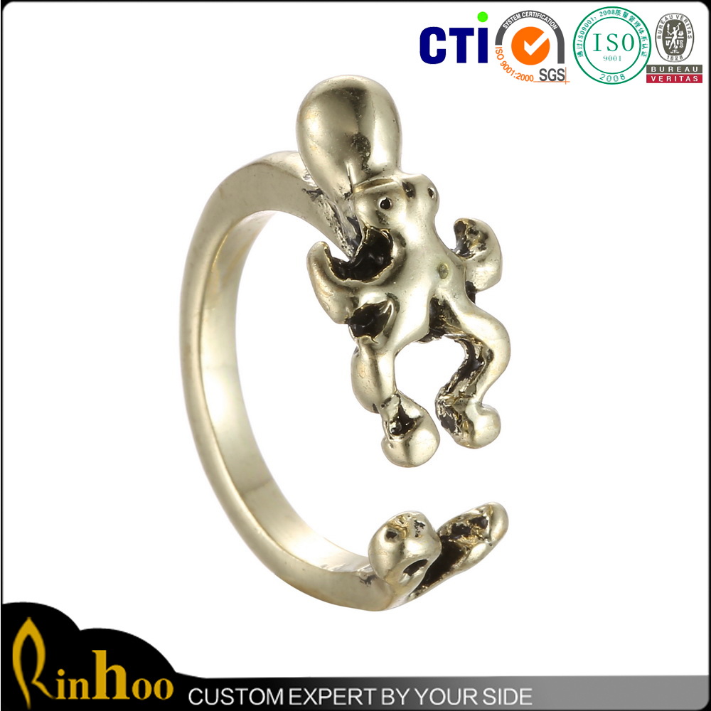 Hot Style New Product Octopus Charm Ring Men Women Metal O Ring With Cheap Price