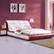 red leather bed frame