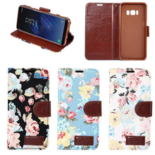 Fashion Style Jeans Cloth Flower Pattern Wallet Cell Phone Cases for Galaxy S8 Plus