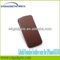 2013 new design cowskin leather case for iphone5 case with apple hole