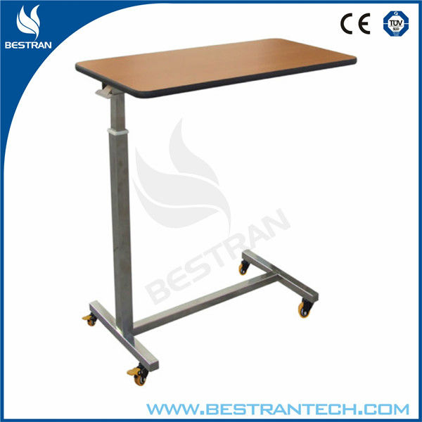 BT-AT005 Hot sales!!! Stainless steel hospital wooden over bed table