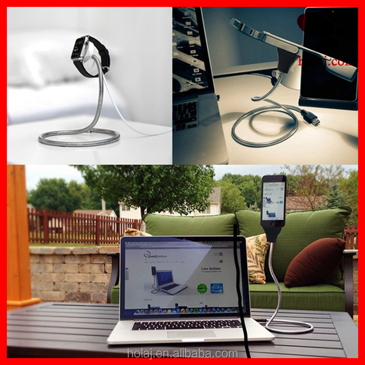 2017 Multifunction metal flexible usb cable rotate stand holder for mobile phone