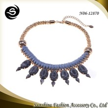 Fashion marble stone necklace fashionable jewelry and unique jewelry costume jewelry manufacturer