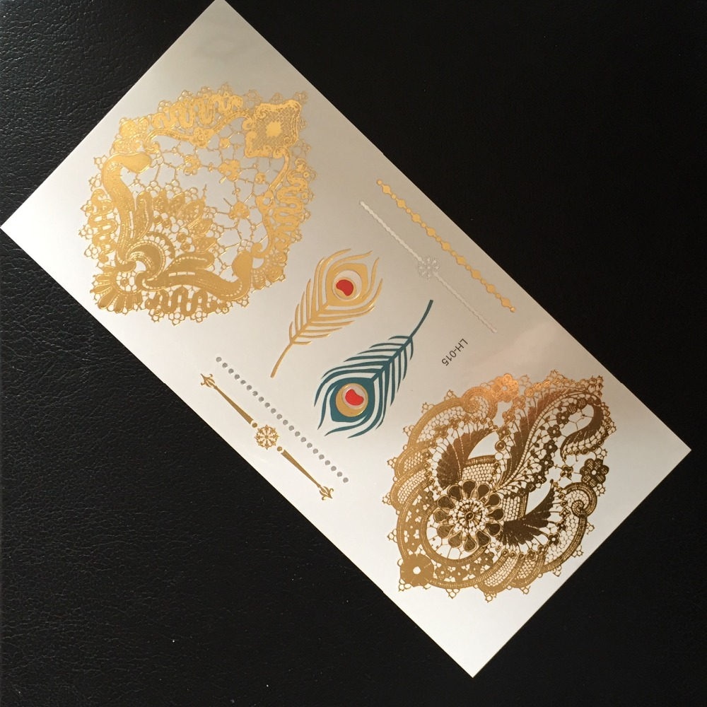 LH-15 High Quality Flash Gold Silver Metal Metallic Temporary Tattoo Stickers Bindi And Feather