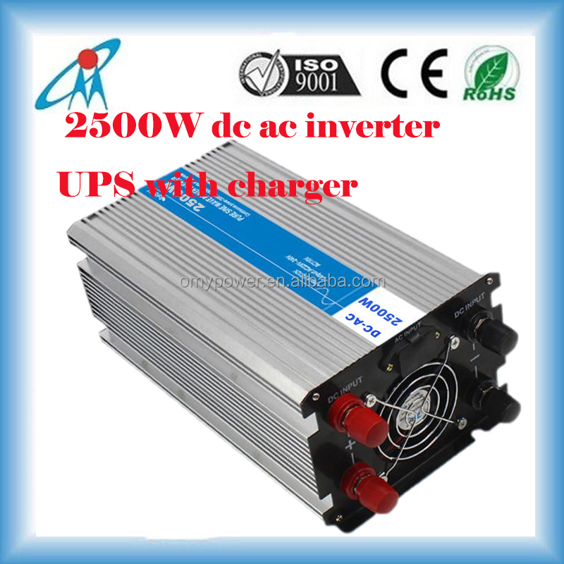 2500W 12V/24V power inverter pure sinus wave solar battery convert inverter with ups battery charger
