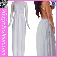 Wholesale white strape backless maxi dresses long cheap