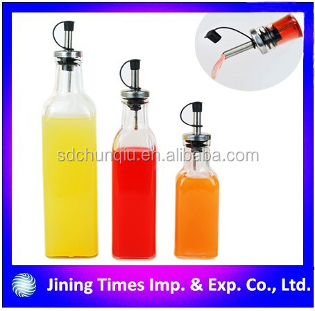 Competitive price customized cooking oil glass bottle with screw top, 250ml 500ml 1000ml olive oil glass bottle