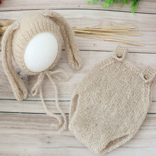 Knit Mohair Bunny Bonnet and Romper Set Newborn Baby Clothes Outfit Crochet Pants Overalls Full sets Jumpsuits Photography Props