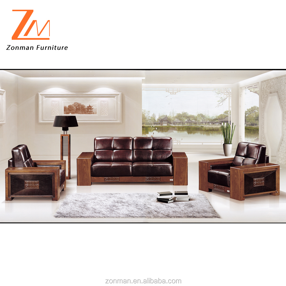 Classic design genuine leather business office sofa with wooden legs and arms