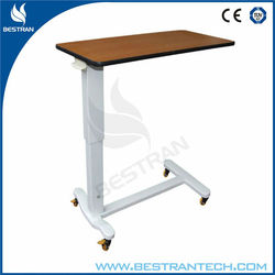 China BT-AT004 Cheap Hospital medical patient over bed table price, bedside table with wooden top, wheels