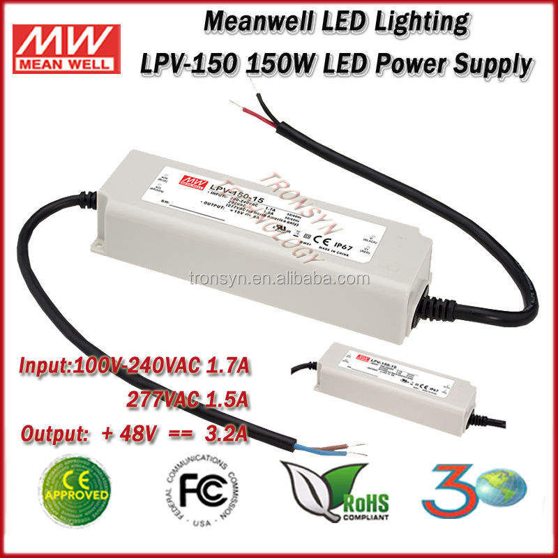 Meanwell LED Driver LPV-150-48 Single Output Waterproof 150W 48V Switching Power Supply