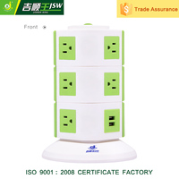 Tower extension American outlet 3 Layer Vertical 2 USB socket with General switch