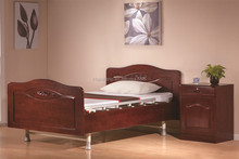 wooden box bed design of two-function electric home care bed/nursing bed