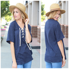 Women's Latest Fashion Loose Short Sleeves V-neck Navy Blank Lace Up Top
