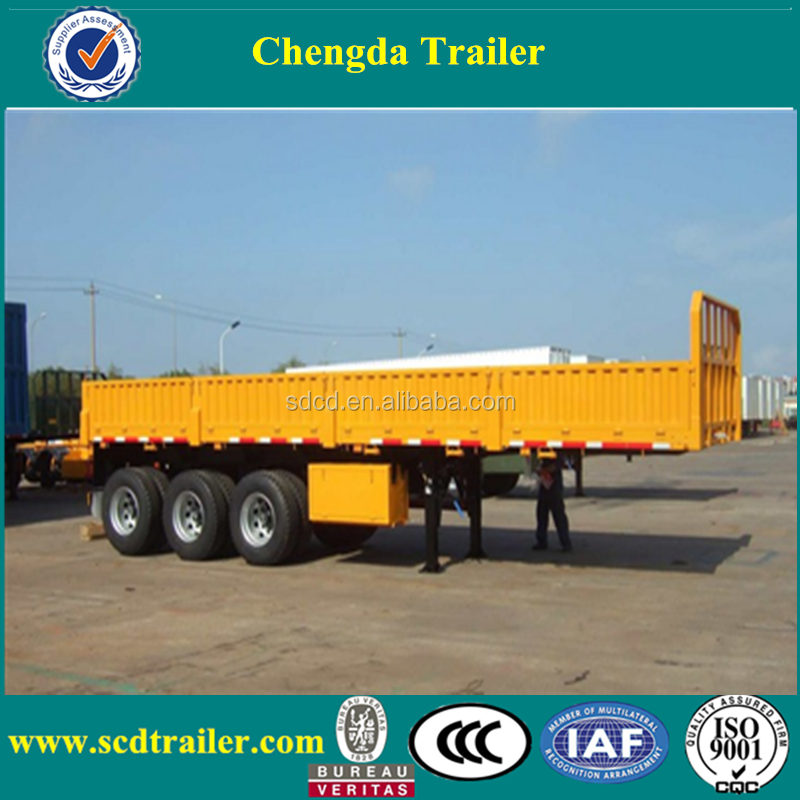 tri axle side wall flat bed Truck trailer for sale