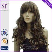 Guang Zhou Long Light Brown Grey Female Wig Italian Long Curly Hair Wig