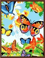 Abstract diy oil painting by numbers ,new butterfly design art set factory price