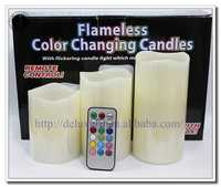 Vanilla scented ivory LED candles with colorful remote control candle electric