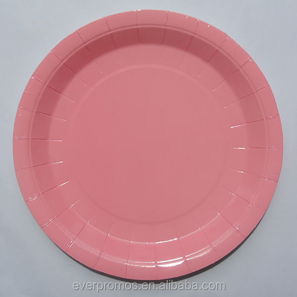 High Quality Hot Sale Disposable Custom Printed/Candy Pink Large Plain Custom Paper Plates